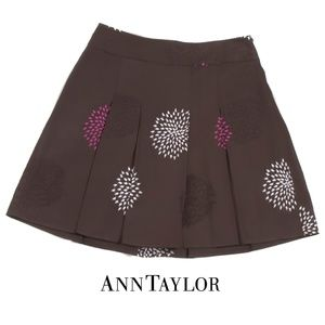 Ann Taylor Brown Pleated Embroidered Skirt - 12